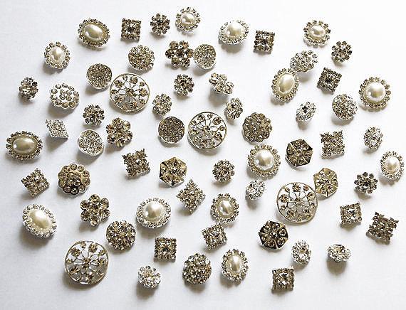 Hochzeit - 20 Assorted Rhinestone Button Brooch Embellishment Pearl Crystal Wedding Brooch Bouquet Cake Hair Comb Clip BT097