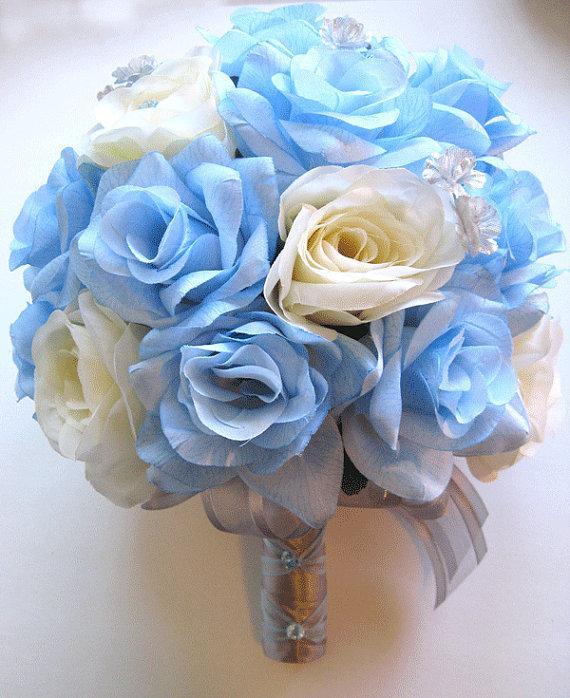 زفاف - Free Shipping Wedding Bouquet Bridal Silk flower 17 pieces Package BLUE CREAM SILVER centerpieces RosesandDreams