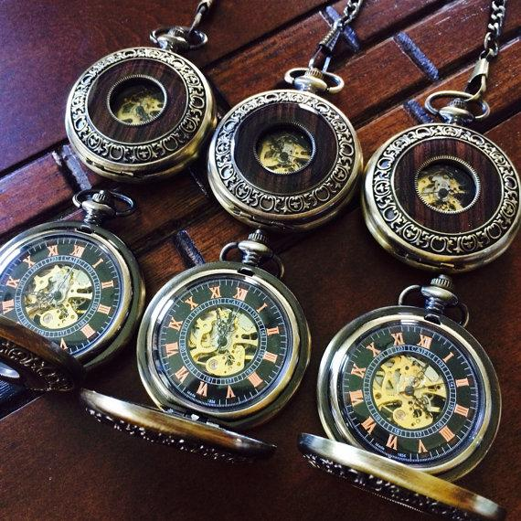 Wedding - Set of 8 Steampunk Engraved Pocket Watches Personalized Mens mechanical Watch Groomsmen gift