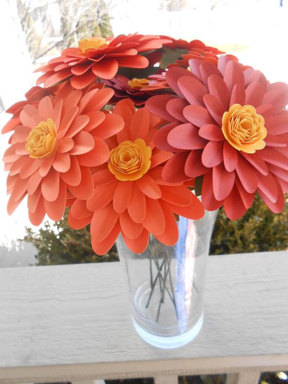Gerber Daisy Paper Flower Bouquet Choose Your Colors Centerpiece
