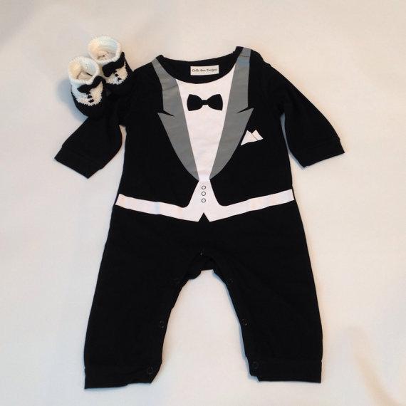 05d78f623597 Tuxedo Baby Romper+Tuxedo Shoes