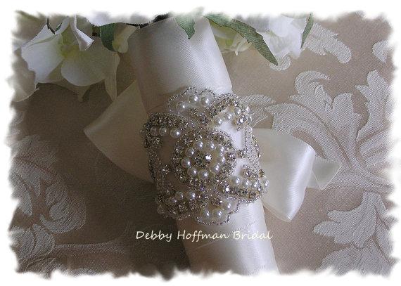 Hochzeit - Pearl Bridal Bouquet Wrap, Pearl Rhinestone Crystal Wedding Bouquet Cuff, Jeweled Bouquet Wrap, Cuff,  No. 3080BW, Wedding Party, Gift