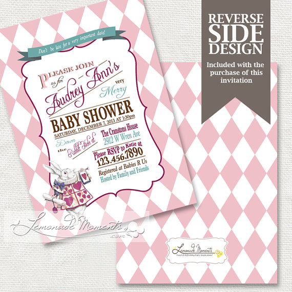 alice in wonderland baby shower invitation / mad hatter tea party, Baby shower