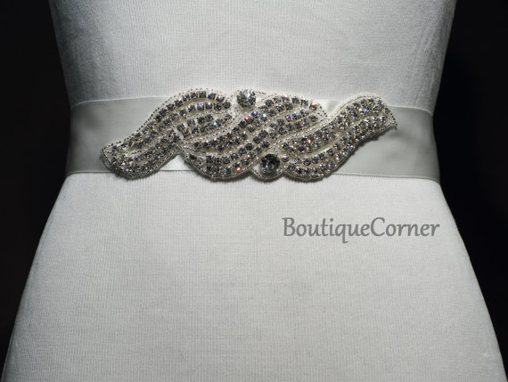 Mariage - Bridal Sash-Beaded Rhinestone Sash-Wedding Accessory-Off White Ribbon Sash-Bridal Belt-Bridal Accessories