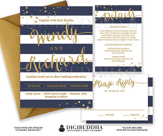 Mariage - NAVY & GOLD WEDDING Invitation Glitter Confetti 3 Pc Suite RSvP Enclosure Card Navy Blue Stripe Invite Free Shipping or DiY Printable- Wendy