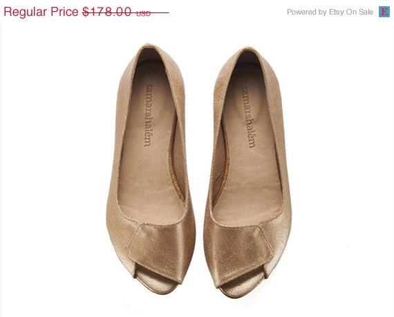 1bb3c97bad SUMMER SALE Aya, peep toes, brides shoes, wedding, gold shoes, champagne,  handmade shoes, leather shoes, open toe, flats, sandals, tamarshal