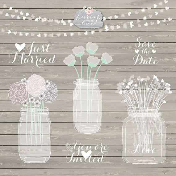 Mariage - Hand draw Mason Jar Wedding Invitation clipart, Rustic Mason Jar Country Wedding Invitations with Flowers, wood grain background