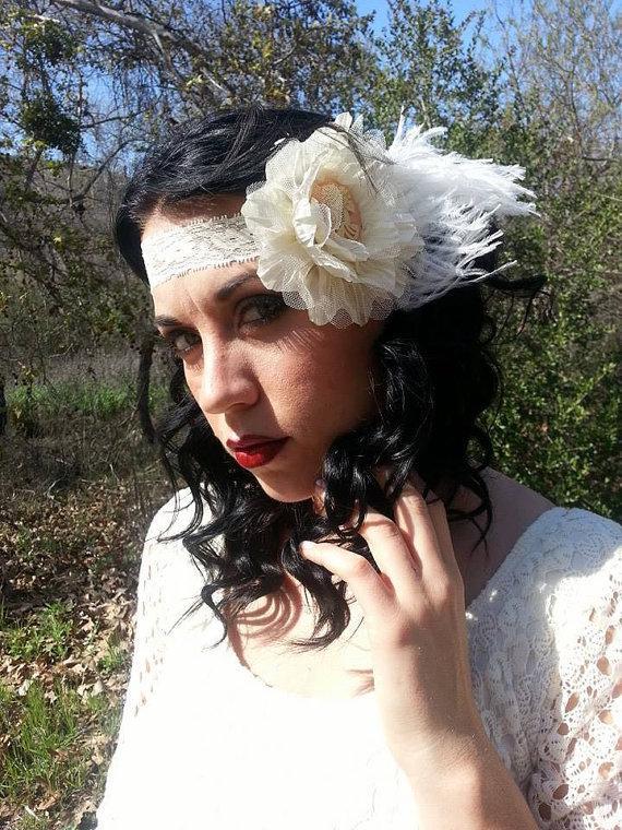 Mariage - Victorian, Headband, white ostrich, Retro, Pinup, Wedding, Skull headband