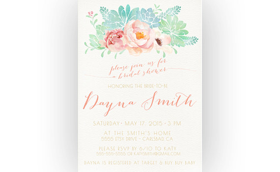 Wedding - Bridal Shower Invitation, Succulent, Flowers, Desert Wedding, Boho (243)