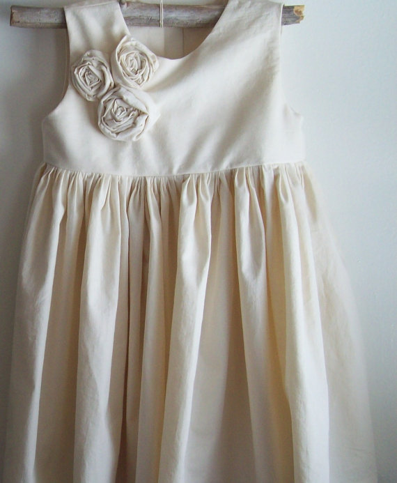زفاف - Ivory Flower girl dress...Iris... Natural Cotton Sizes 2,3,4,5