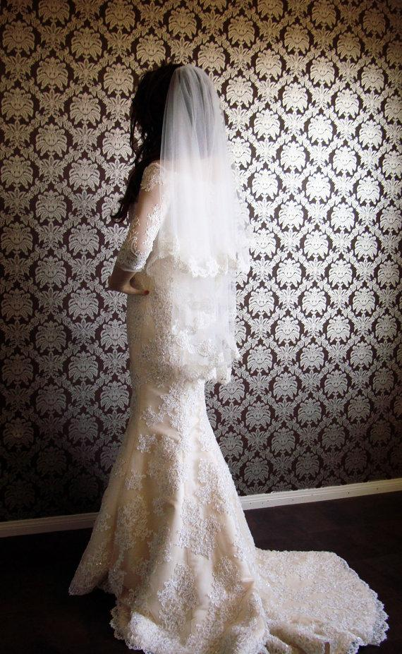 Свадьба - Luxury Silk Tulle Alencon Lace Made in France Lace Edge Two-Tier Bridal Veil by IHeartBride - Style Eclaire MA72 100% Silk Tulle