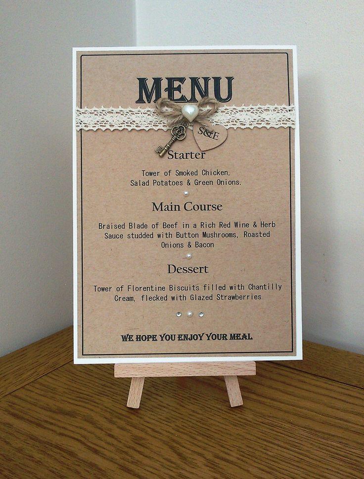 Handmade Personalised Rustic Style Wedding Table Menu Card ...