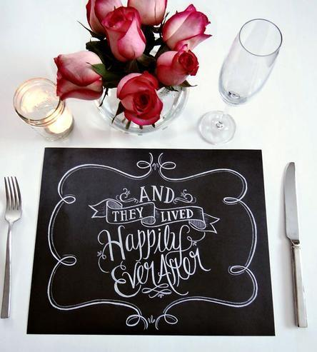 Свадьба - Happily Ever After Chalkboard Art Placemats
