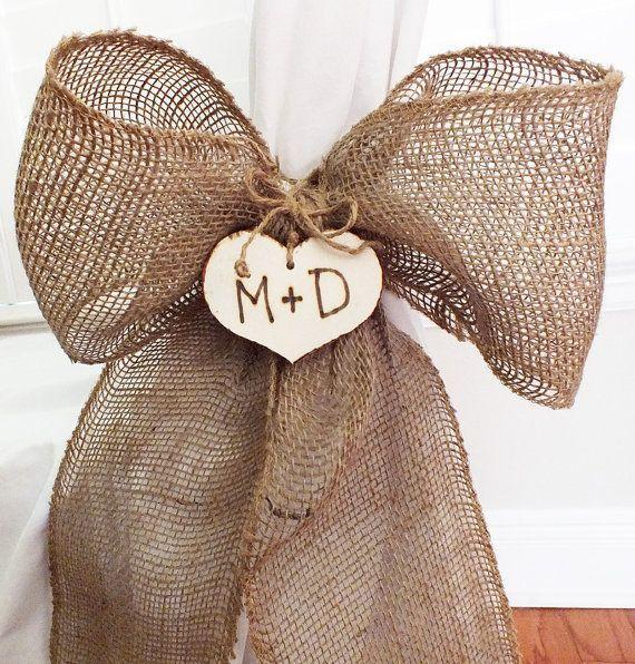 زفاف - Personalized Burlap Pew Bow - Burlap Wedding Decor, Barn Wedding Decor, Set Of Two