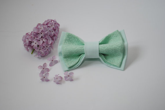 Hochzeit - Embroidered bowtie Mint striped pretied bow tie Groomsmen bow ties Men's bowtie Bow tie Gifts for brother Unisex bowties Birthday gift