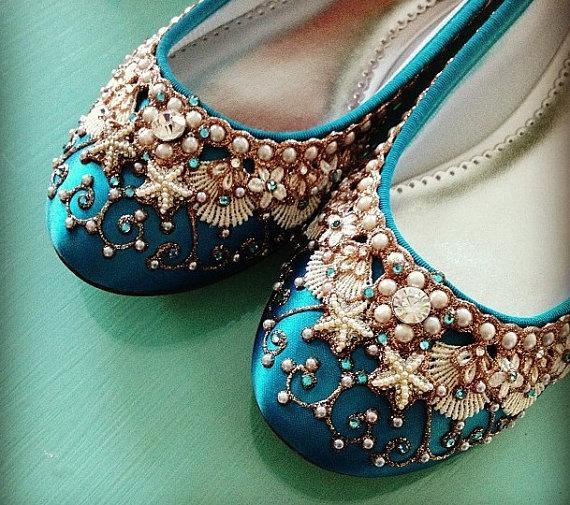 زفاف - Mermaid's Slipper Bridal Ballet Flats Wedding Shoes - Any Size - Pick your own shoe color and crystal color
