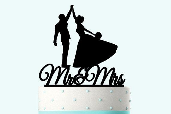 زفاف - Wedding Cake Topper Silhouette Groom and Bride, Acrylic Cake Topper