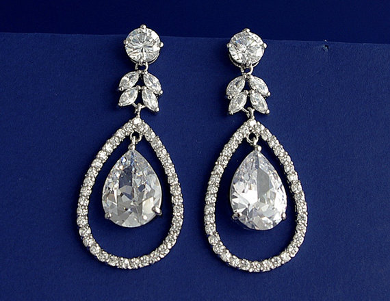 Dramatic Cubic Zirconia Drop Earrings With Sterling Silver Studs Chandelier Cz Dangle Wedding Bridal