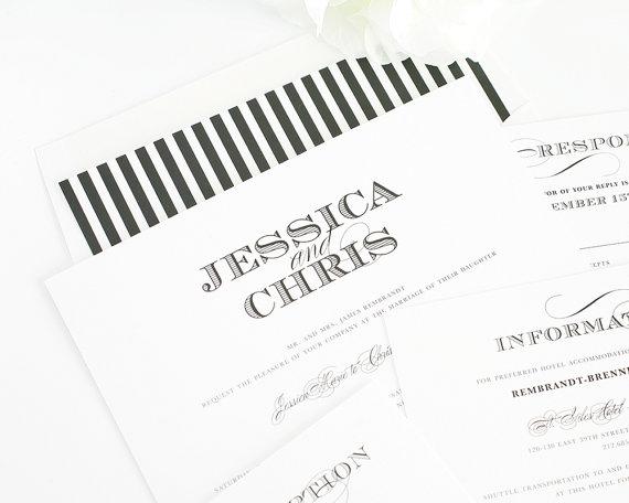 زفاف - Elegant Wedding Invitation - Black, White, Silver, Stripes - Ornate Elegance Wedding Invitation - Classic, Elegant Wedding Invite