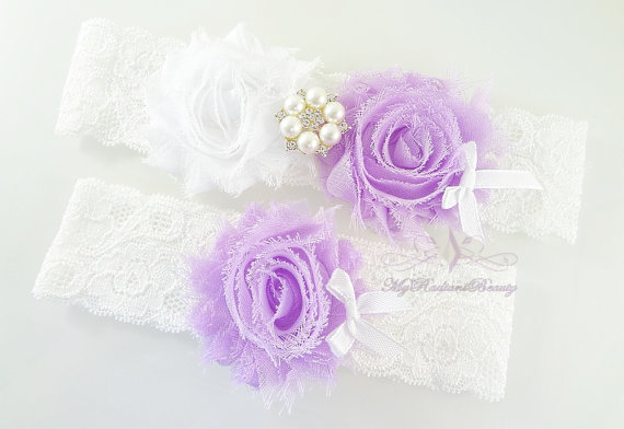 Mariage - Garter Belt, Wedding Garter, Garter Set, Garters, Bridal Garter, Sexy Garter, Lavender Flower Garter, Custom Garter, Lace Garter GTF0018L
