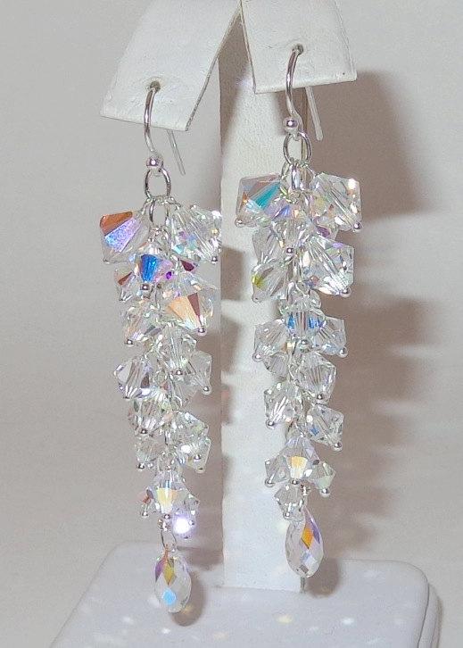 Hochzeit - Column Earrings in Clear AB, Bridal Earrings, Swarovski Crystal Earrings, Bridal Long Earrings, Wedding Jewelry, Bridal Jewellery,