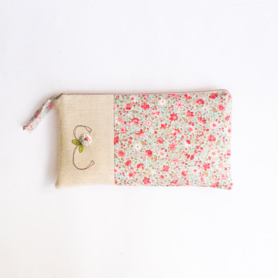 Wedding - Floral Bridesmaid Purse, Mint and Coral Wedding Clutch, Personalized Bridesmaid Gift, Wedding Purse Letter E MADE to ORDER MamaBleuDesigns