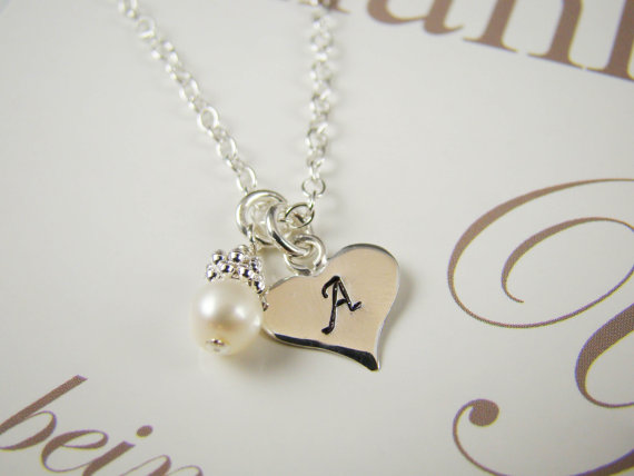 9e1d24a1d5b35 Personalized Flower Girl Gifts Necklaces, Initial Necklace, Wedding ...