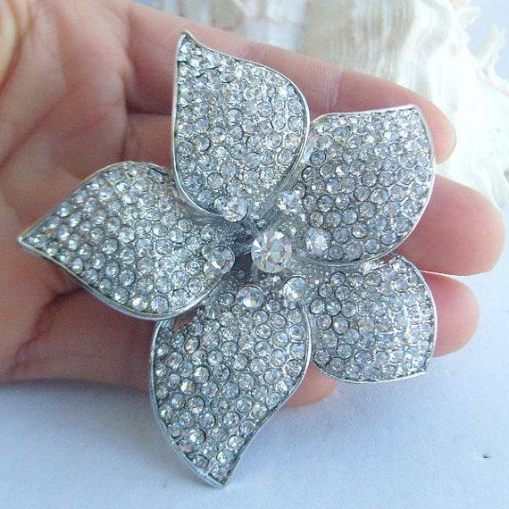 Mariage - Wedding Accessories, Bridesmaid Jewelry, Bouquet Brooch, Wedding Bridal Crystal Rhinestone Orchid Flower Brooch Pin BP04812C1
