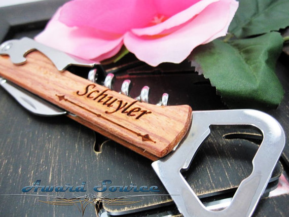 Свадьба - Personalized Groomsmen Gift, Engraved Wood Bottle Opener, Stainless Steel Flask, Personalized Best Man Gift