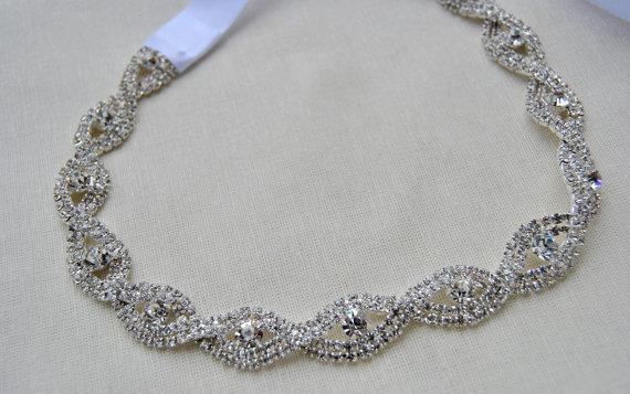 Свадьба - Luxury Crystal  Rhinestone Tie on Headband headpiece, Prom Headband, Wedding Headband, ribbon headband, Bridal rhinestone head piece