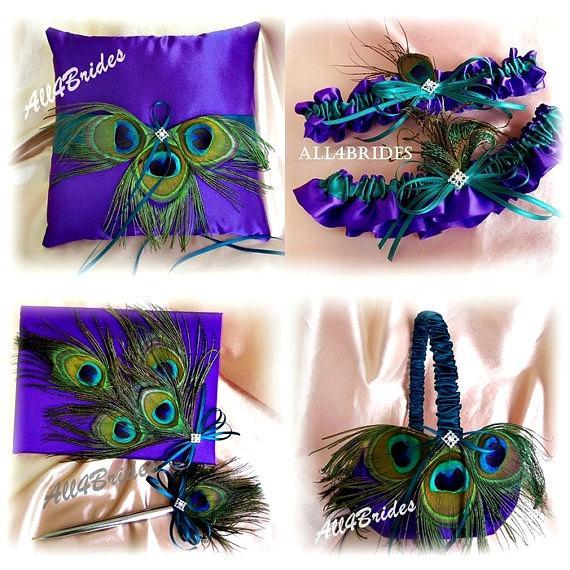 زفاف - Purple and Teal Peacock Weddings Pillow, Flower Girl Basket, Ring Pillow, Guest Book, Bridal Garters,  6pc set