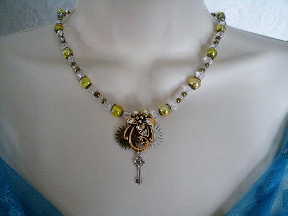 Wedding - Steampunk Flower Necklace, steampunk jewelry rockabilly jewelry gothic jewelry victorian art deco art nouveau goth rocker wedding gypsy