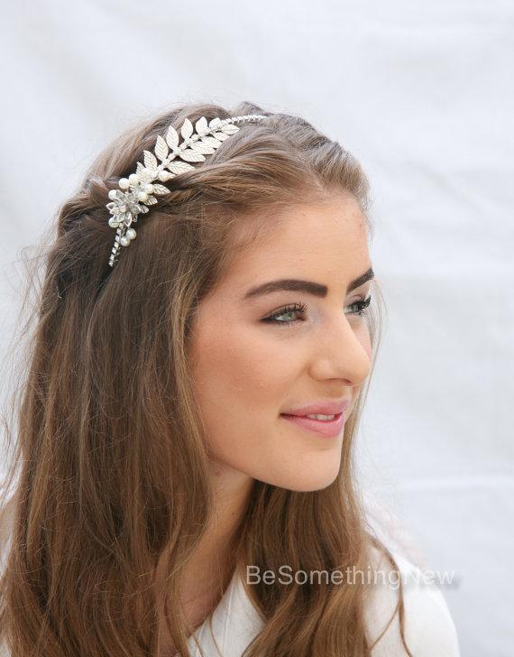 Mariage - Grecian Silver Tone Metal Leaf Headband with Rhinestones and Pearls Wedding Headpiece Metal Headband for Adults Silver Leaf Hair Accessory