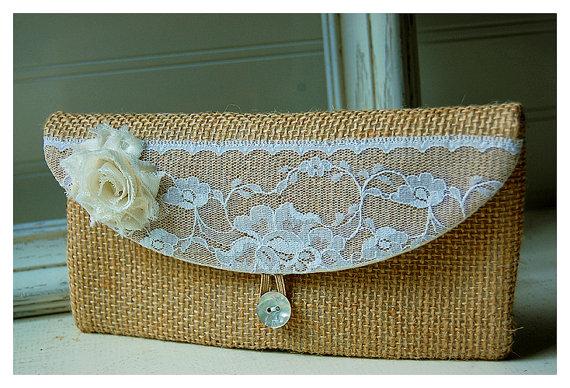 زفاف - burlap ivory lace clutch rustic wedding, bridesmaid gift bridesmaid clutch black gold purse Spring Wedding Bridesmaid Gift Bridal Clutch