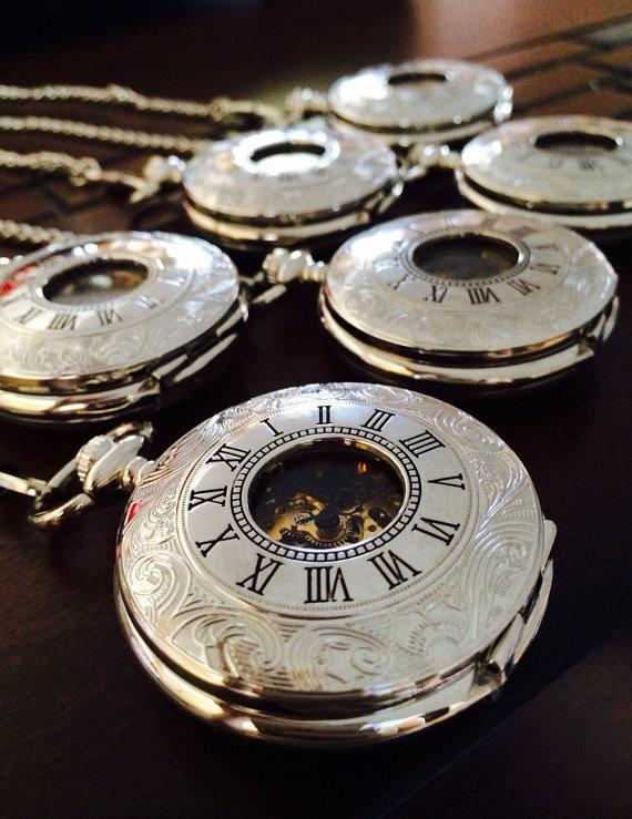 set of 6 silver personalized mechanical pocket watches double set of 6 silver personalized mechanical pocket watches double hunter men s watch engraved groomsmen gifts ships from