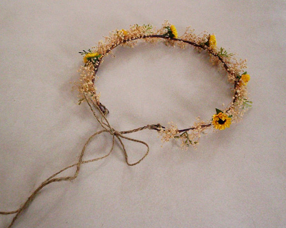 Mariage - Sunflower twine Bridal flower crown Rustic Chic Dried Woodland Headwreath Natural babys breath party Hair Wreath Wedding Accessory costume