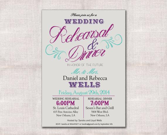 Wedding - Wedding Rehearsal Dinner invitation custom printable 5x7