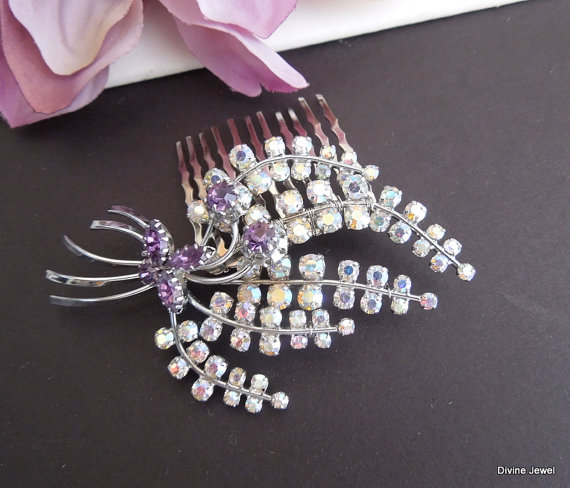 Wedding - Vintage Rhinestone Hair Comb,Vintage Rhinestone Wedding Hair Comb,Wedding Hair Comb,Bridal Hair Comb,Brooch Hair Comb,Hair Accesory,KATHLEEN