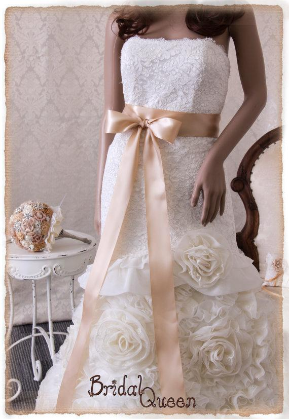 Beige bridal sash wedding dress sash bridal belt bridal for Satin belt for wedding dress