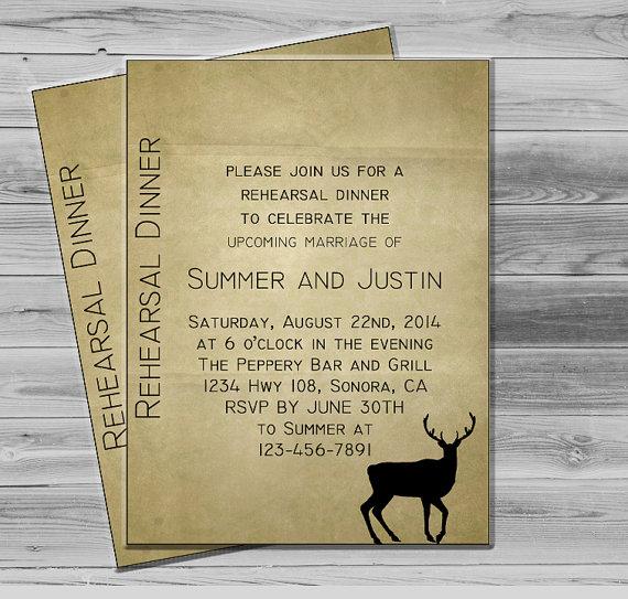 Wedding - Rehearsal Dinner Invite - Dinner Invitations - Rustic Invitation - Mountain Wedding - Hunter Wedding