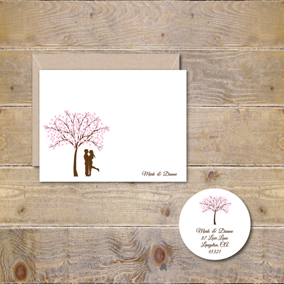 cherry tree wedding thank you cards cherry blossoms bridal shower thank you cards rustic weddings outdoor weddings cherry blossom tree