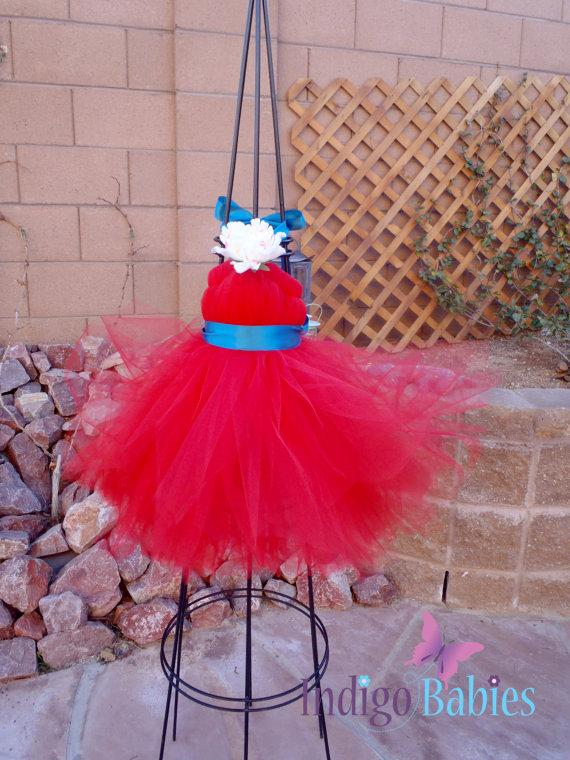 Wedding - Tutu Dress, Flower Girl Dresses, Weddings, Red Tulle, Turquoise Ribbon, Ivory Flower, Fabric Flower, Portrait Dress, Flower Girl Dress