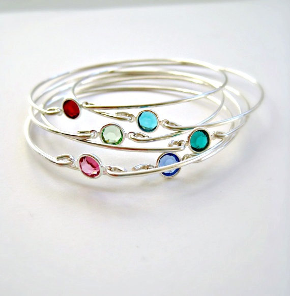Birthstone Bracelets Bangle Bridesmaid Jewelry Sterling Silver Mother S Stacking