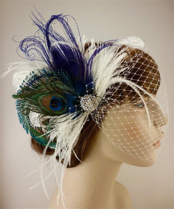 Mariage - Fancy Peacock - Feather Bridal Fascinator, Feather Fascinator, Bridal Fascinator, Rhinestone Hair clip, Wedding Veil, Fascinator