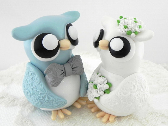 زفاف - Owl Wedding Cake Topper, Blue, Ivory and Grey, Bride and Groom Keepsake, Fully Custom