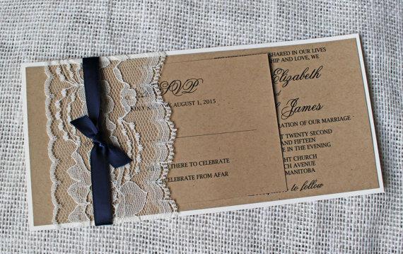 Mariage - Rustic Wedding Invitation. Lace Wedding Invitation. Suite. Navy. Wedding Invitation. Wedding Stationary. Custom Stationary