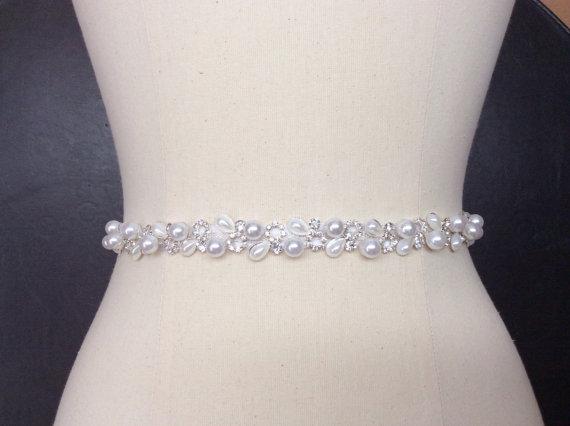 Mariage - Bridal Belt, Thin Bridal Belt, Wedding Belt, Pearl Belt, Rhinestone and Pearl Belt, Skinny Belt, Best Friend Bridal 178