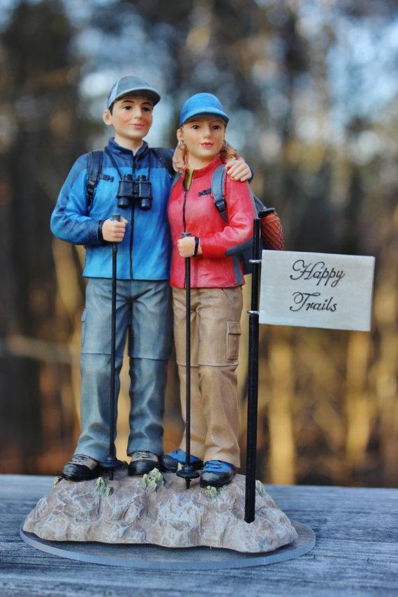Mariage - Outdoor Hiker Hiking Walking Wedding Cake Topper Backpack