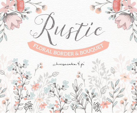 Floral Border U0026 Bouquet: Rustic Hand Drawn Floral Clip Art / Wedding  Invitation Clipart / Commercial Use / PNG, Vector / Flowers / CM0062f1