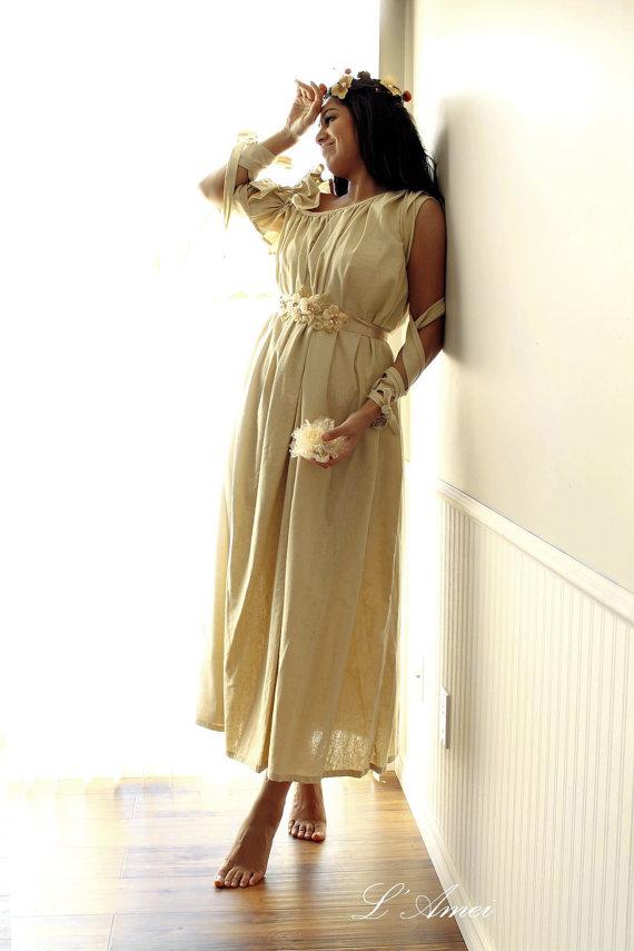 Hochzeit - Hand made Forest Wedding Cotton Tea Length Off Shoulder Wedding or Bridal Dress, Made to Order